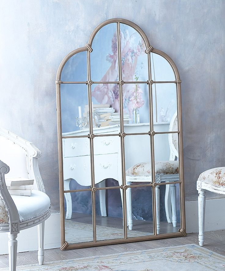A very effective mirror to add a feeling of depth and light to any wall it can be used floorstanding as shown or wall mounted Distressed metal finish