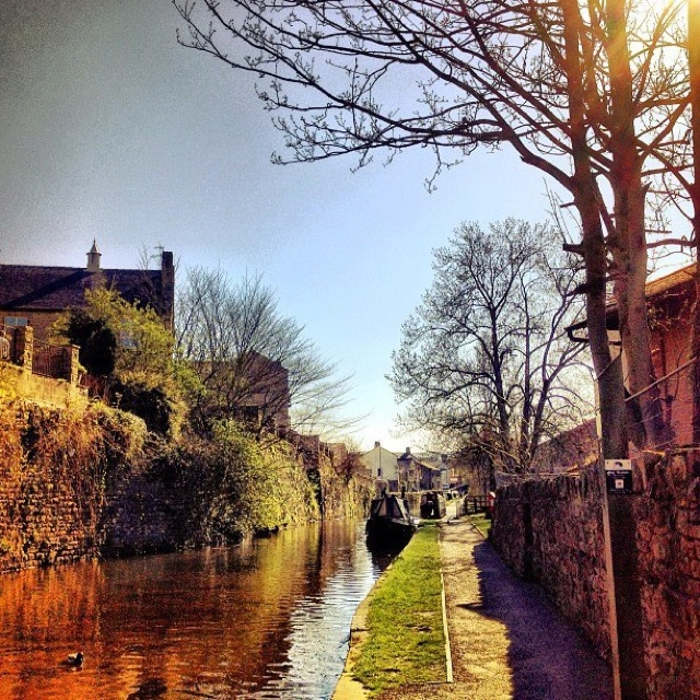 Skipton, North Yorkshire. Skipton is part of the Leeds/Liverpool canal system which is the longest inland waterway at 127 miles long.