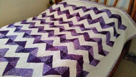 Purple quilt New Handmade Purple Quilt Chevron Pattern by QuiltsByTaylorDesign