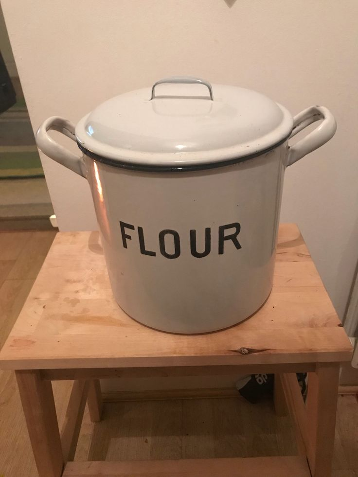 Excited to share the latest addition to my #etsy shop: 1950 Vintage Enamel Flour storage  container made in Germany #housewares #white #black