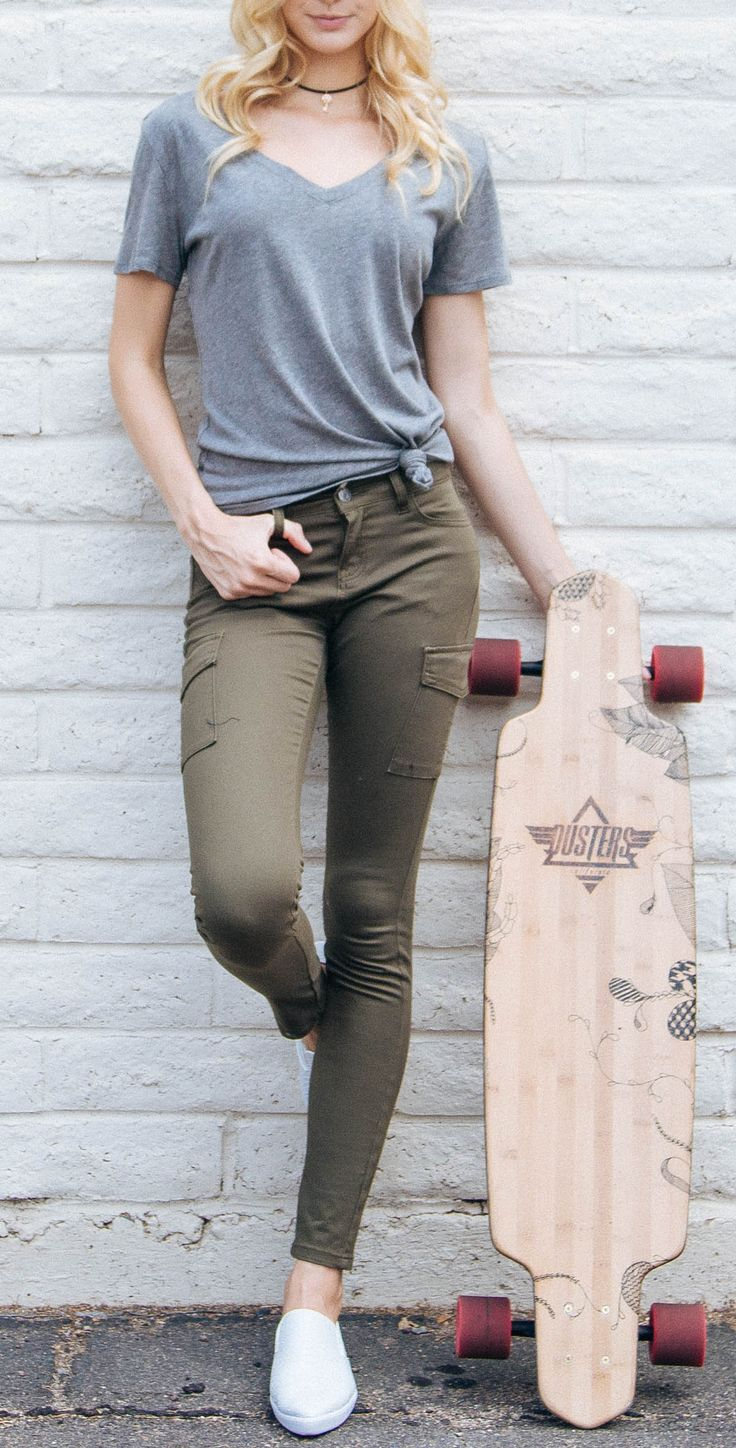 - Details - Size Guide - Model Stats - Contact It's okay to have a little attitude! These Talia Cargo Skinny Jeans feature an olive-colored stretch fabric with a mid-rise, skinny jean styling. Classic