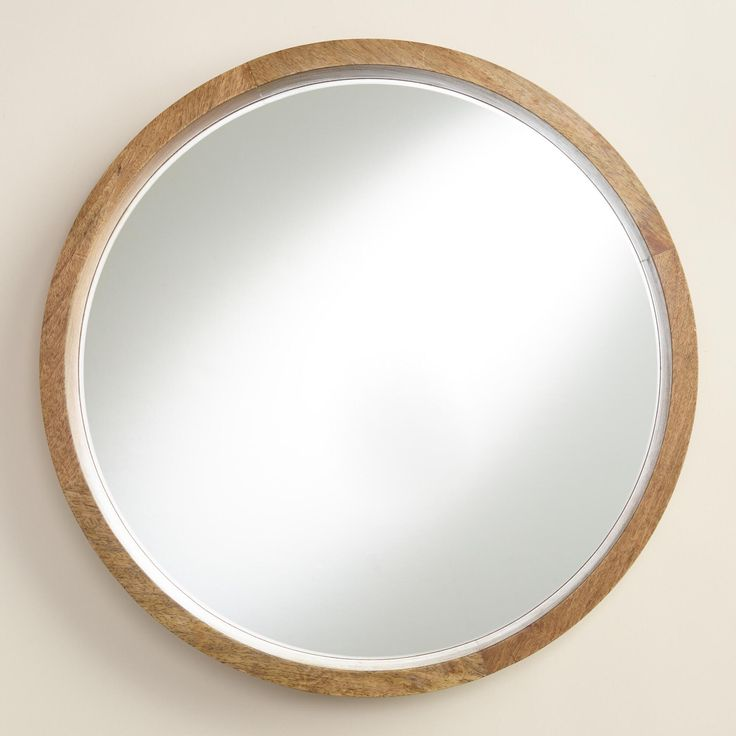 Natural wood round evan mirror circles the o 39 jays and for Wooden mirror