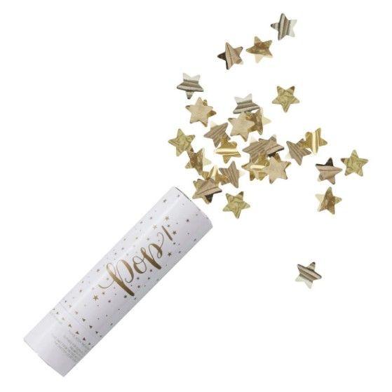 Konfetti+kanon+med+gullstjerner+ +Det+lille+ekstra+til+din+Baby+Shower.+Gaver,+pynt,+bleiekaker,+samt+alt+til+dåp,+navnefest.+