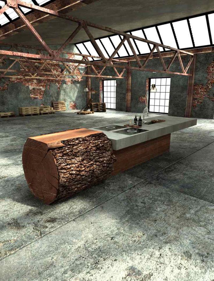 Baumstammküche-ein Design, das auf Kontraste von Echtholz und Beton setzt