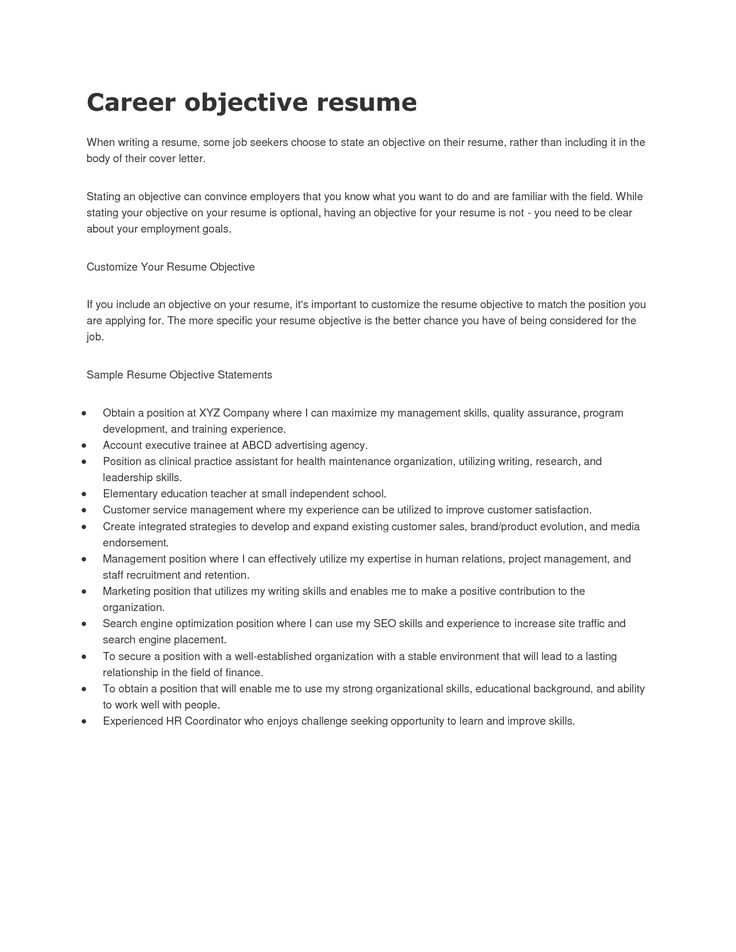 Example Of A Good Objective For A Resume - Examples of Resumes