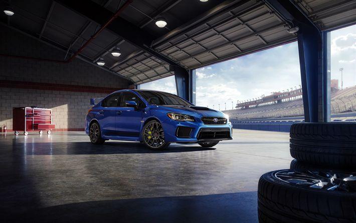 Hämta bilder Subaru WRX, 2018, - Banan, blå WRX, tuning, sportbilar, Subaru
