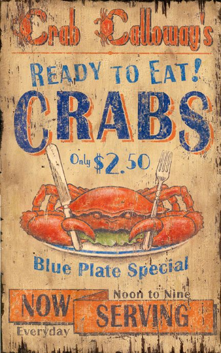 Crab Calloway Seafood   Vintage Beach Sign