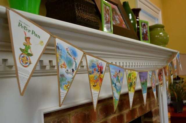 "Golden Book Pennant Bunting...Peter Pan, Neverland, Captain Hook / Birthday ""Christian's Peter Pan Party"" 