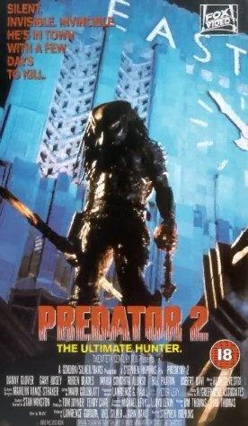 Predator 2 (1990)  Director: Stephen Hopkins  Cast: Kevin Peter Hall, Danny Glover, Gary Busey, Rubén Blades, Maria Conchita Alonso, Bill Paxton, Robert Davi, Adam Baldwin, Calvin Lockhart, Michael Papajohn