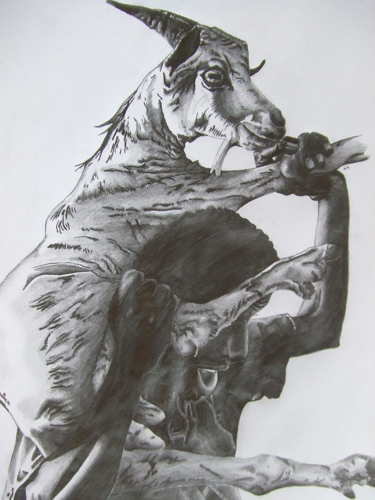 Boy with Goat Pencil and Charcoal Drawing by Keith Sothern