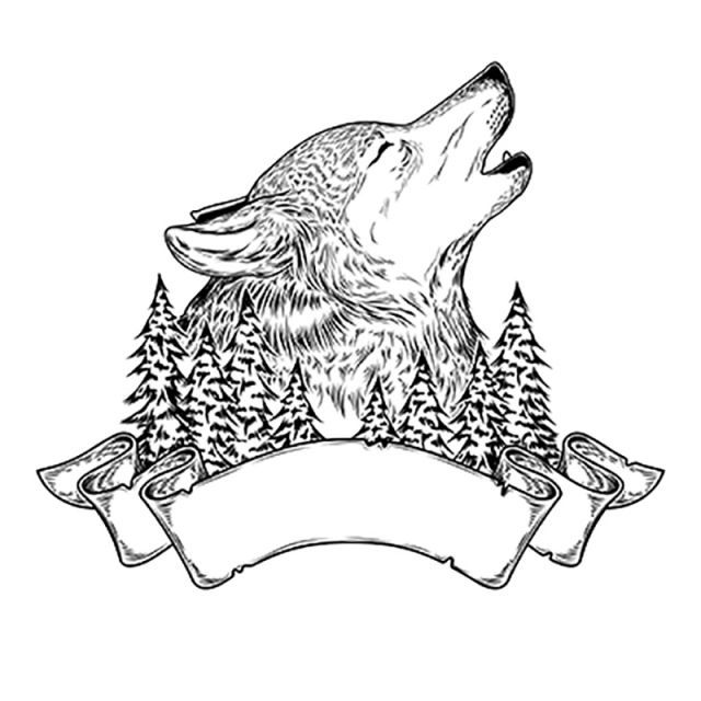 Vector Illustration Of A Howling Wolf With Ribbon Free Logo Design Template Wolf Clipart Wolf Howling Png And Vector With Transparent Background For Free Dow Wolf Illustration Wolf Howling Vector Illustration