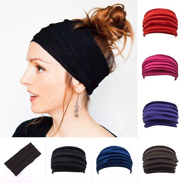 Women Elastic Wide Headband Sports Yoga Running Hair Band Turban Headwraps USA