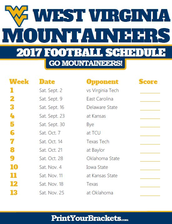 2017 West Virginia Mountaineers Football Schedule