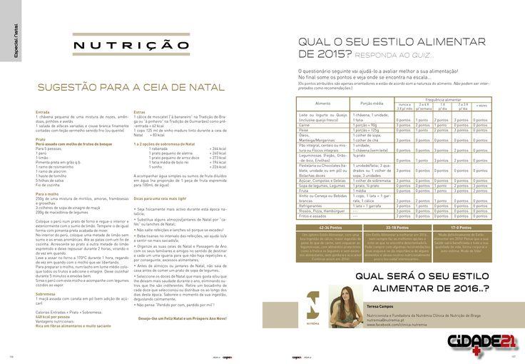 Especial Nutrição: Sugestão para a Ceia de Natal + Quiz, da autoria da Dra.Teresa Campos (Nutrémia).