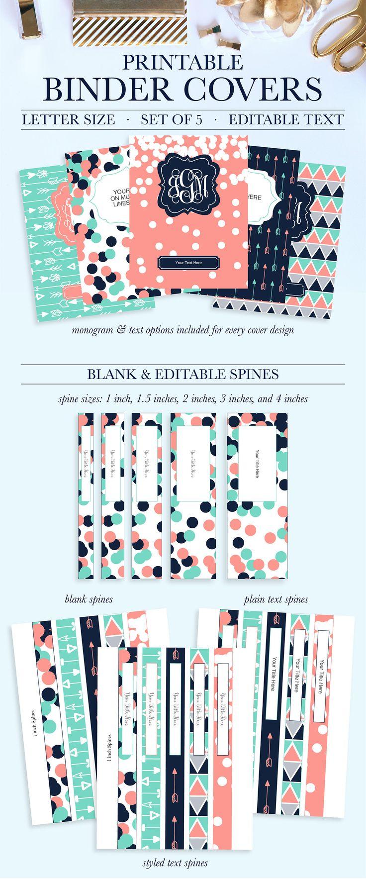 Monogram Binder Covers Student Printable Binder Covers and
