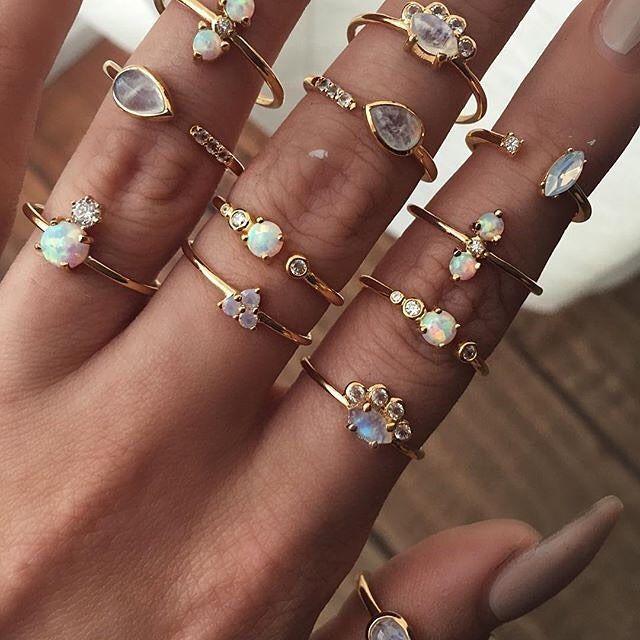 Opal , Moonstone, White Topaz dainty gold rings.
