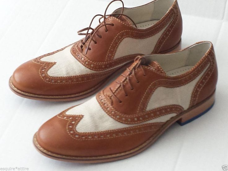Men's COLE HAAN NikeAir Saddle Beige Leather Oxford Shoes 11 M