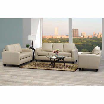 Summit Park Tan 3-piece Top Grain Leather Living Room Set