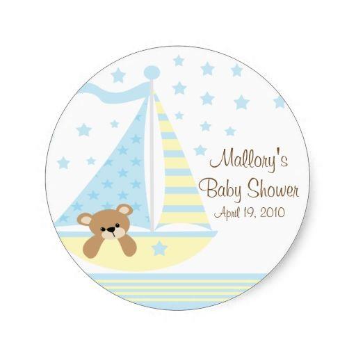 Blue Sailboat Baby Shower Sticker