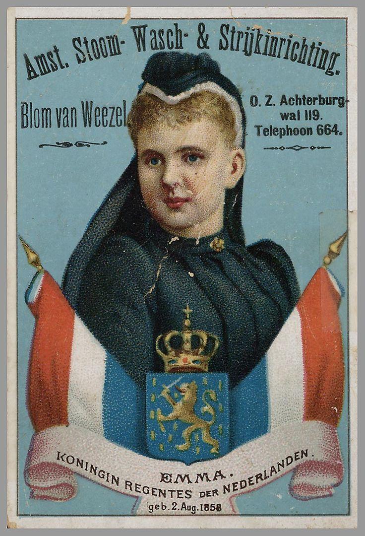 "Advertisement for ""Amsterdamse Stoom- Wasch- & Strijkinrichting Blom van Weezel"" with picture of Queen Emma in Mourning Dress"