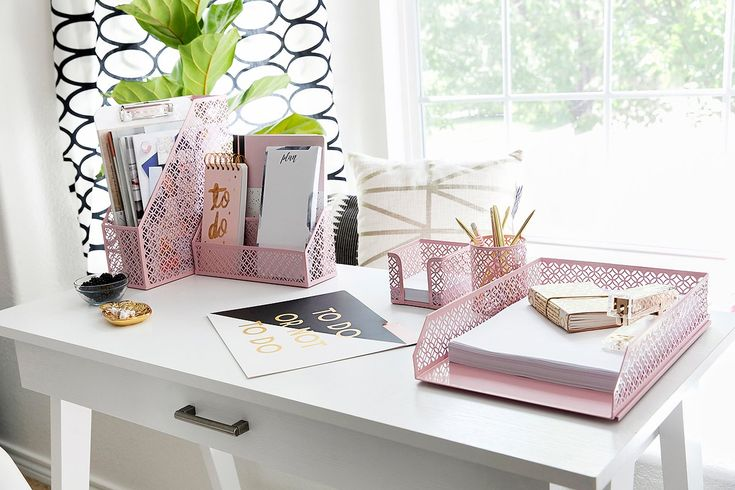 Office Supplies Desk Organizer - 5 Piece Set - File Holder, Letter Tray, Pen Case and Sticky Note Holder - Pink