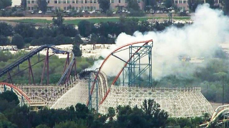 The famous Colossus roller coaster at Six Flags Magic Mountain in Valencia caught fire on Monday, Sept. 8, 2014. (Credit: KTLA)