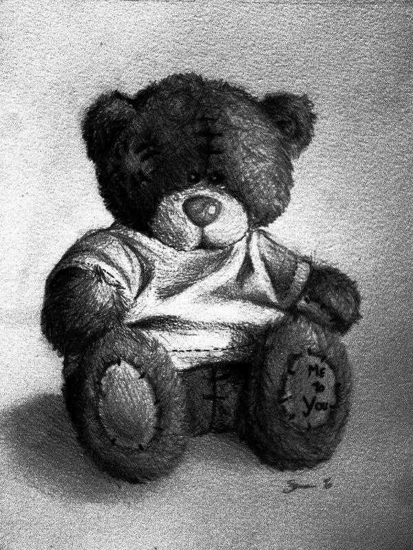 Летнем отдыхе, картинки плюшевого медведя карандашом