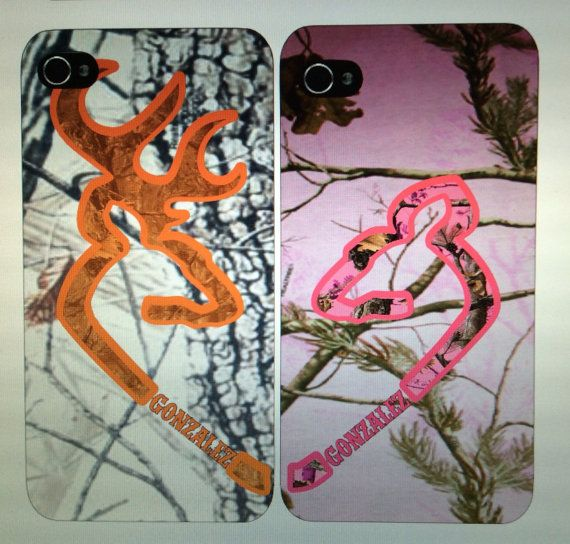 2 Personalized Couples Camo Browning Buck /Doe iPhone Cases iPhone 4/4s & 5/5s