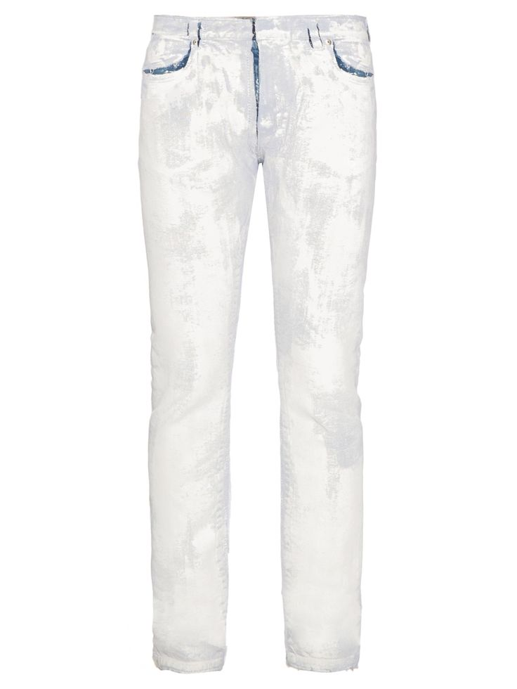 Maison Margiela crafts these blue plaster-cast jeans to directional effect.  The denim is hand-painted with a white canvas coating, cut to a skinny fit,  ...