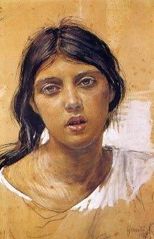 La zingara, matita, caroncino, aquarelle 1885 Musée Pignatelli Naples 47 X 30