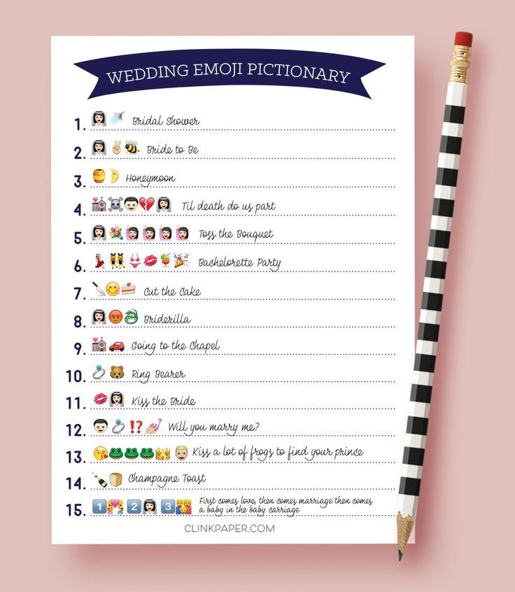 Wedding Emoji Pictionary- Bridal Shower Game- Instant Download- Print at Home…