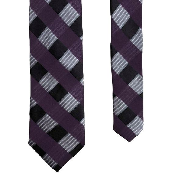 Anthony Of London Purple Original Plaid Classy 100% Silk Men's Skinny Neck Tie #Anthony #MensNeckTie #menswear #mensfashion #menstyle  #mens