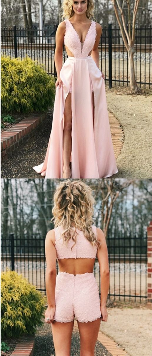 a48b513c6920 Gorgeous Pink Lace Long Prom Dresses, Jumpsuit Cut Out Detachable Train  Prom Dresses, Hottest Long Prom Party Dresses in Vogue #PromDresses  #PromDress2019 # ...