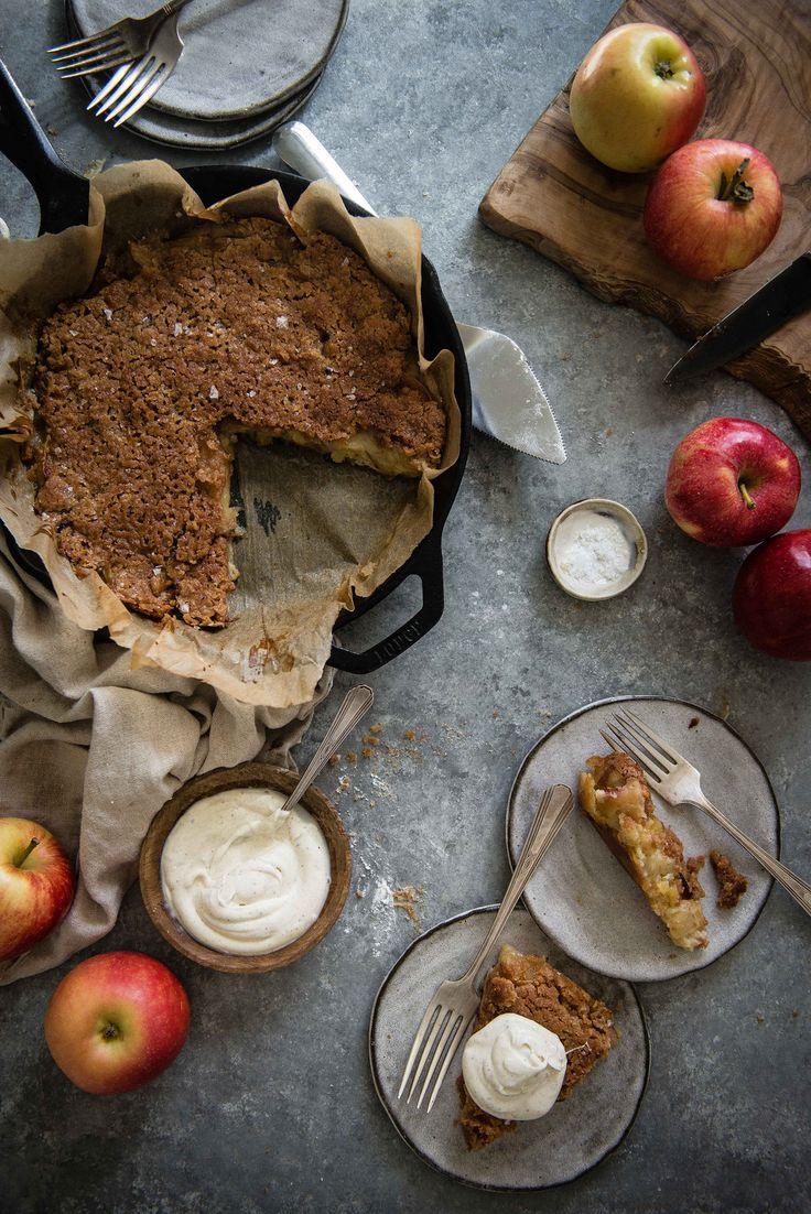 custardy creme fraiche apple pie | two red bowls