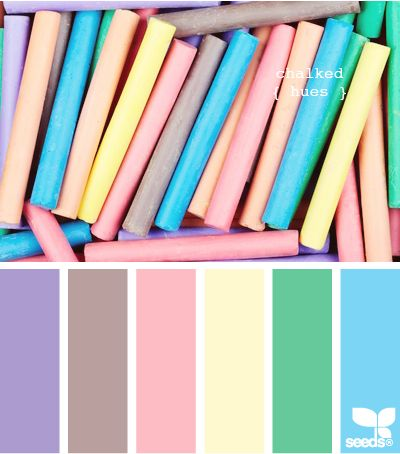 chalked huesBathroom Design, Colors Combos, Challenges Palettes, Design Seeds, Chalk Hues Colours Palettes, Colors Palettes, Bright Blue, Pastel Chalk, Colors Schemes