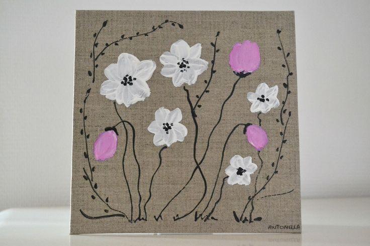 Tableau lin romantique fleurs tableau d coratif f minin for Tableau style shabby
