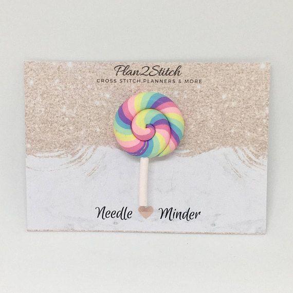 Rainbow Swirl Lollipop Needle Minder $4.03