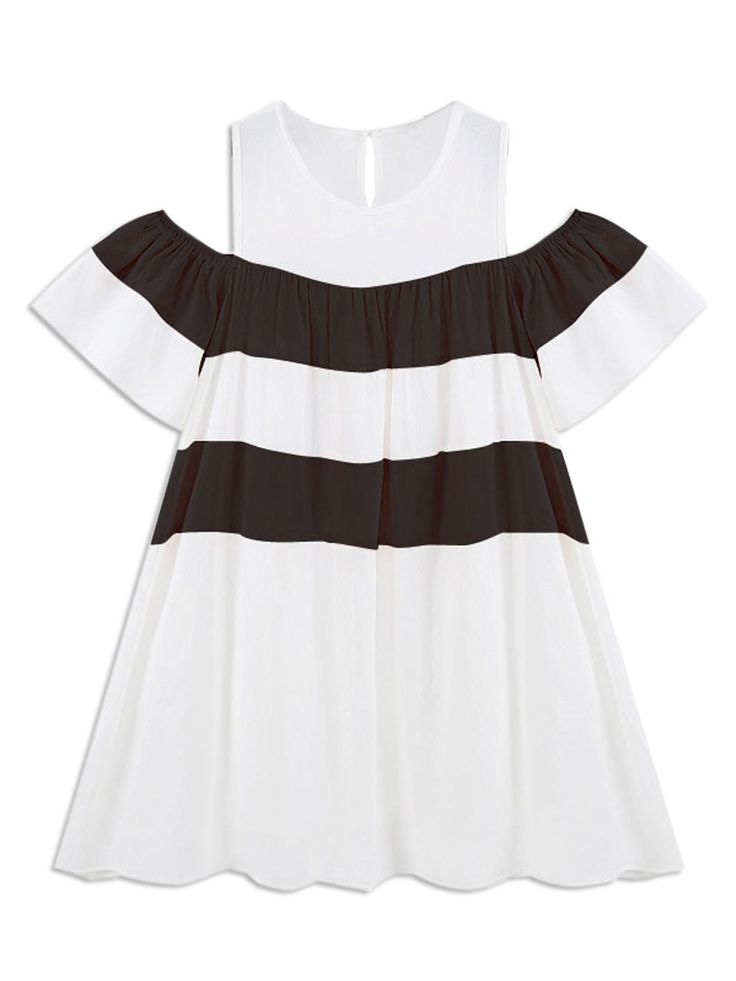White Stripe Cold Shoulder Ruffle Ruched Dress
