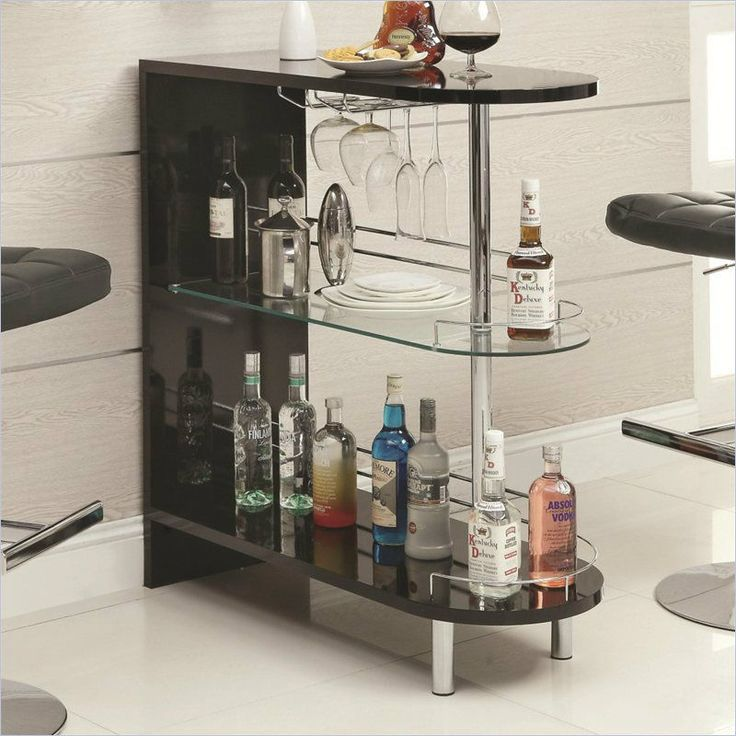 Affordable Bar Table Black Home Pub Glass Storage Counter Furniture Shelves  With Bar Table Design