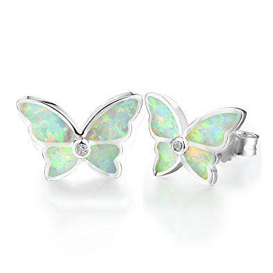 Dormith® Plata de ley 925 pendientes para mujeres Ópalo blanco sintético Mariposa