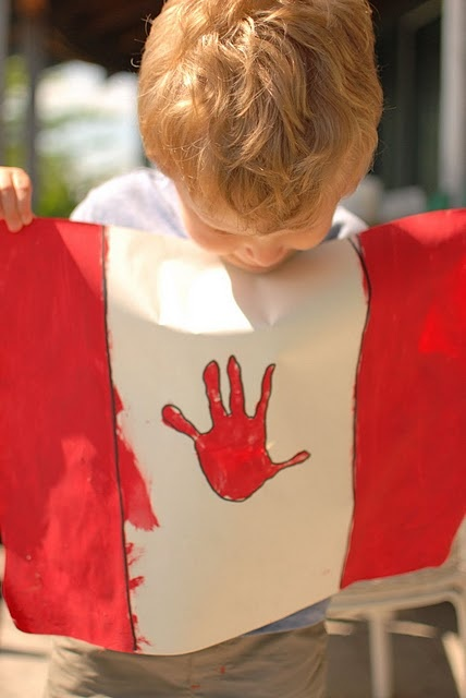 Hand print flag!! So cute!