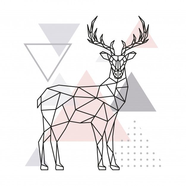 Cervos Geometricos Escandinavos Vista Lateral In 2020 Geometric Drawing Geometric Deer Art Drawings Simple