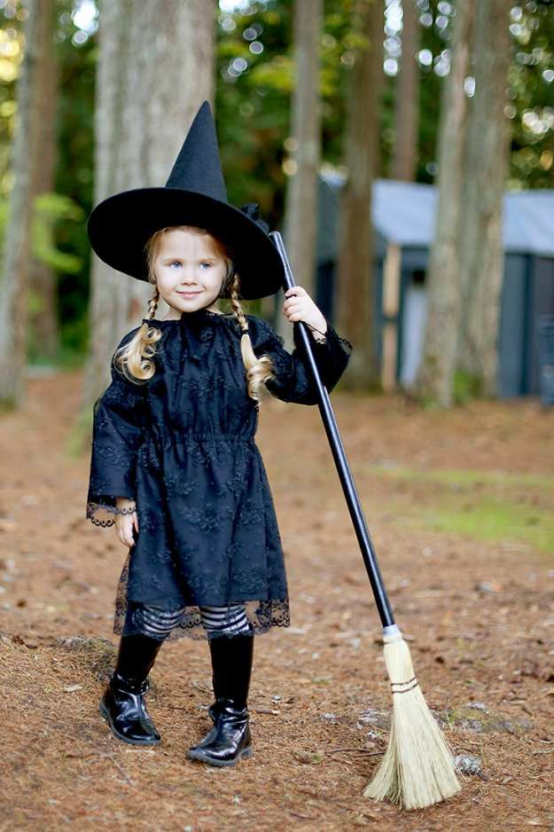 19 Easy Homemade Halloween Costumes You Can Make For Your Kids Witch Costume Diy Kids Witch Costume Girl Witch Costume