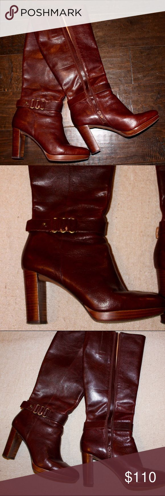 "Nine West Brown Leather heeled boots. Size 9. Nine West Brown Leather zip up, heeled boots. Women's size 9. 3"" heel. Barely worn- super comfy, zips up to just under the knee. Beautiful brown color! Nine West Shoes Heeled Boots"
