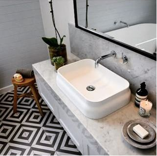 Omvivo Latis rectangular basin. This looks beautiful with the Black and White floor tiles and marble bench top.