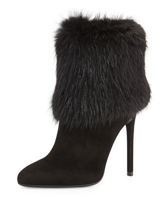 Fur Trimmed Ankle Boot, Black (Nero) by Prada  2014 Fall Collection