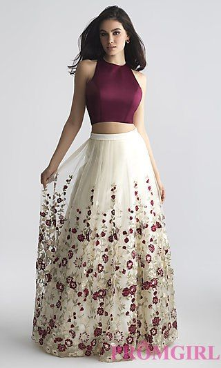 Two-Piece A-Line Prom Dress with Embroidery