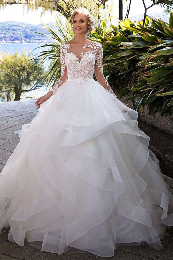 Fantastische Tüll Bateau Ausschnitt Ballkleid Brautkleid mit Perlen Spitze