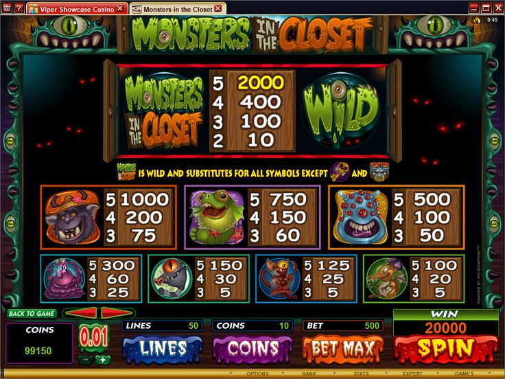 Monsters in the closet Online Slot