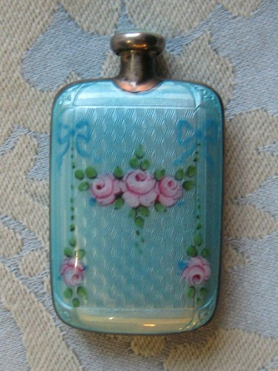 Antique Sterling and Guilloche Enamel Miniature Perfume / Scent Flask c.1915 (can fit easily into a glove)